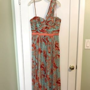 Floor length BCBG coral and blue!